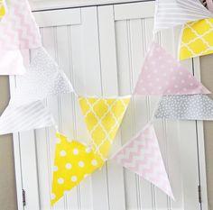 Banner, Bunting, Fabric Pennant Flags, Baby Nursery Decor, Wedding Garland, Birthday Party Decor, Yellow, Pink, Grey, Chevron, Quatrefoil on Etsy, $18.72 AUD