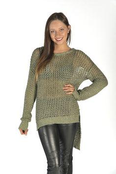 Khaki Glitter Knit Hi-Low Sweater #olive #comfy #jumper
