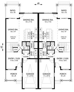 Plan No.591009 House Plans by WestHomePlanners.com  Duplex with 3 bedrooms 2 1/2 bathrooms.  I would modify the second floor by closing in at least half of the space open to the living room, and expanding the size of the master including a walk in closet.  Also, make the master bath larger by getting rid of the closet next door.