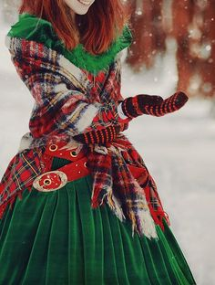 Tartan Christmas Magic (I would love a green velvet dress like that ... minus the tartan)