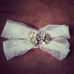 criss-cross bridal garter + 1950's vintage pearl jewelry + swarovski crystal + point d'esprit + HOUSEofLOVELY + $58 + FREE SHIPPING