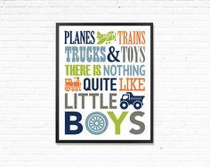 Printable boys room art Planes trains trucks and toys navy