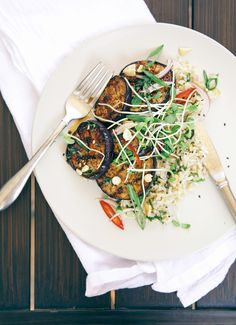 Sticky Teriyaki Eggplant with Coconut Rice - The First Mess