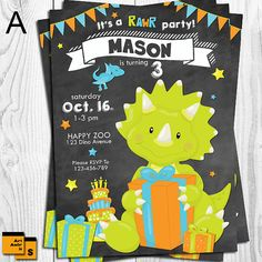 Dino invitation dinosaurs invitation jungle by ArtAmoris on Etsy