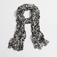 Factory printed tissue scarf - Leopard