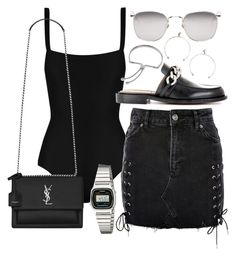 """""""Untitled #22039"""" by florencia95 ❤ liked on Polyvore featuring Matteau, Topshop, Linda Farrow, Yves Saint Laurent, Givenchy, Justine Clenquet, Casio and Monica Vinader"""