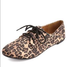 Satin Leopard Oxfords Worn once . Charlotte Russe . Size: 9 Charlotte Russe Shoes Flats & Loafers