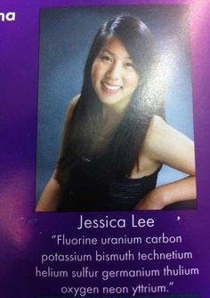 Flourine uranium carbon potassium bismuth technetiumhelium sulfur germanium thulium oxygen neon yttrium.