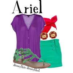 Disney Bound: Ariel from The Little Mermaid movies; by disneythis-disneythat Disney Princess Outfits, Disney Themed Outfits, Disney Dresses, Disney Clothes, Moda Disney, Disney Mode, Ariel Disney, Mermaid Disney, Estilo Disney
