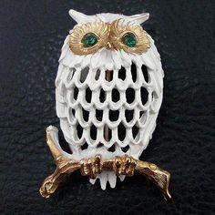 Vintage Napier Enameled Owl Pin from luckyladyvintage on Ruby Lane