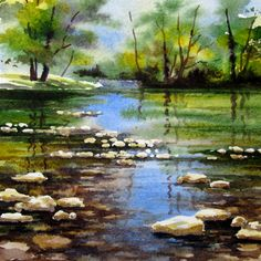 Still Water, Miniature watercolor/ Varvara Harmon