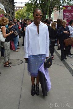 White Shirt, light blue skirt -Milan - SpringSummer 15