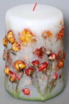 Ideas de Velas Decoradas con Flores Secas