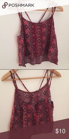 Mudd Double-Strap Floral Crop Tank Top Actually size X-Large, but it runs small so it fits as a Large! Perfect condition, never worn. There are two straps, with one of them crossing in an X pattern in the back. Mudd Tops Crop Tops