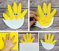 Easter chick handprint card Materials: Yellow and White construction paper or card stock Scissors Wiggle eyes Orange construction paper Glue stick and craft glue Yellow feathers Black pen or… Easter Arts And Crafts, Easter Crafts For Toddlers, Spring Crafts For Kids, Bunny Crafts, Easter Crafts For Kids, Preschool Crafts, Children Crafts, Summer Crafts, Paper Easter Crafts