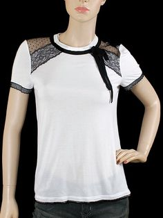 Once Upon A Time - Belle.  Valentino R.E.D. RED Valentino Top - White Jersey T-Shirt with Lace Detailing