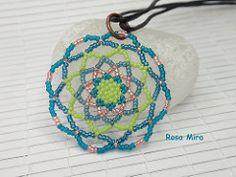 Colgante Mandala en azules y verdes  CO.0338 (Espuma de mar by Rosa Mira) Tags: seed jewelry mandala bijoux bead collar ethnic beading beaded pendant jewel joyeria beadwork joya bisuteria colgante etnico perles seedbead rocalla