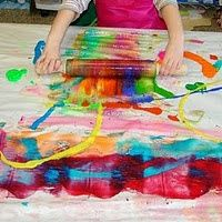 Are you a parent or teacher looking for a new way to allow children to paint. Why not allow your child or children to paint with a rolling pin?