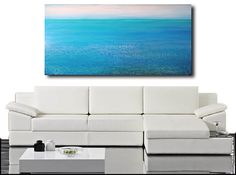 Beach painting abstract acrylic painting-Cool Sea 6-36x60 by