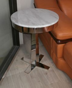 Awesome Steel Marble Corner Table