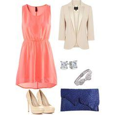 Coral dress cream blazer by eden4408 on Polyvore featuring H