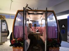 Swiss Chalet Gondola - Real Swiss ski gondolas converted into creative phone booth for the amazing Google Zurich offices