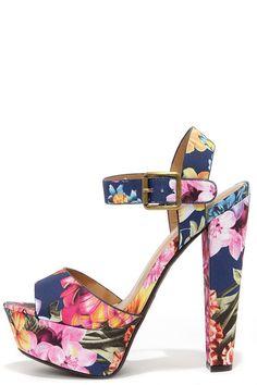 Passion Flower Navy Floral Print Platform Sandals//