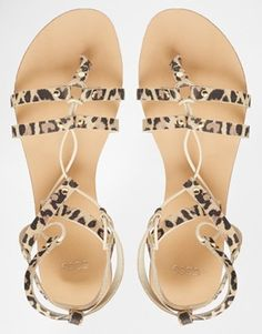Enlarge ASOS FOOZLE Guilly Tie Leather Sandals