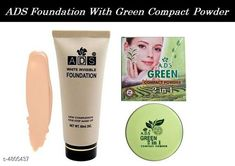 Makeup Combo ADS Green Tea Compact Powder 2 in 1 With ADS White Invisble Foundation   Product Name: ADS Green Tea Compact Powder 2 in 1 With ADS White Invisble Foundation  Brand Name: ADS Product Type: Foundation & Compact Powder Capacity: Foundation- 60 ml & Compact Powder- 8 gm  Package Contains: It Has 1 Pack of Foundation & 1 Pack of Compact Powder Sizes Available: Free Size *Proof of Safe Delivery! Click to know on Safety Standards of Delivery Partners- https://ltl.sh/y_nZrAV3  Catalog Rating: ★4 (1403)  Catalog Name: Free Gift Make Up Ads / Kiss Beauty/Yanqina Face Makeup Foundation/Compact Powder/Kajal/Eyeliner Vol 2 CatalogID_700389 C51-SC1540 Code: 361-4805437-