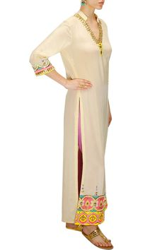 INDIAN BY MANISH ARORA Beige beads and pearl embroidered kurta available only at Pernia's Pop-Up Shop.