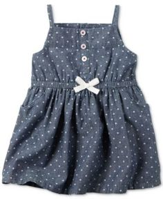 Sweet stars style this chambray denim dress from Carter's with warm-weather appeal. | Dress and diaper cover: cotton | Machine washable | Imported | Square neck | Sleeveless; spaghetti straps | Faux b