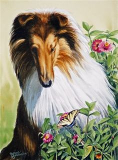 "I Spy a Butterfly by Canine Art ~ 14"" x 11"" Yvonne Sovereign"