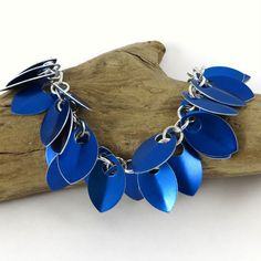 Chainmail Scale Bracelet Blue by HCJewelrybyRose on Etsy