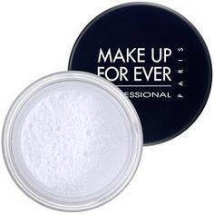 Makeup Forever HD Powder. It's translucent, but it still provides a little coverage and evens out skin tone.