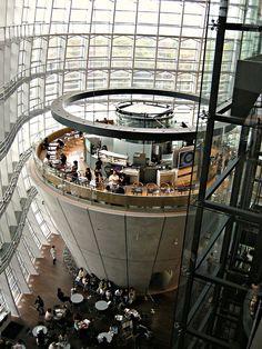 Cafe in The National Art Center, Tokyo (architect by Kisho Kurokawa), Japan Japan Architecture, Unique Architecture, Tokyo City, Tokyo Japan, Kisho Kurokawa, Tokyo Museum, Sea Of Japan, National Art, Visit Tokyo