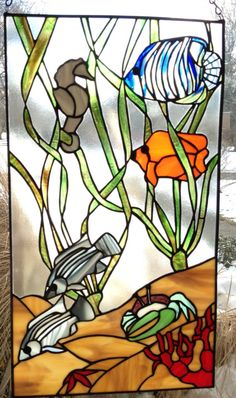 Under Sea Fish Panel Elegant Stained Glass