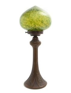 1466: A Loetz Glass and Cast Metal Table Lamp, Height o