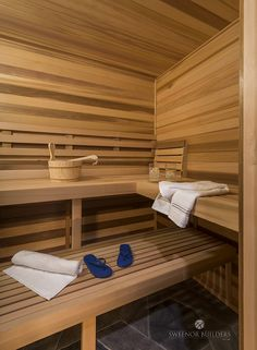 Sauna This sauna is and it includes built-in benches. The sauna is made from Western Red Cedar Shower Bench Built In, Built In Bench, Cabinet Paint Colors, Wall Paint Colors, Salt Room, Gold Bedroom, Red Cedar, Visual Comfort, Custom Cabinetry