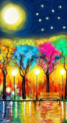 17. Color- uses bright colors to draw you attention to the most important parts. LIght- uses street lights to light up trees and the water in picture. Value-is used around the light to show how it is the brightest part, fades it gets farther away.