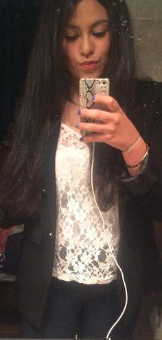 Blue Zara pants, white lace shirt and black blazer