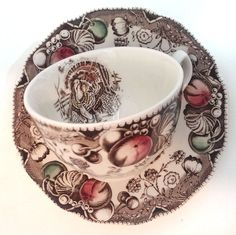 His Majesty Johnson Brothers Turkey Harvest Cup Saucer England  Discontinued #JohnsonBrothers