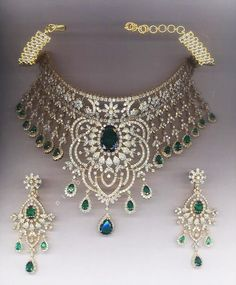 Empress Diamond and Emerald Necklace: Necklace and earrings set in 18kt gold surrounded by 41.49 cts of diamonds and emerald accents. This Design inspired by the original tiara worn by Empress Josephine (first wife of Napolean).  #diamond #emerald #necklace #earrings #gold