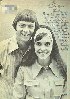 Karen and Richard 1969. Karen composed a thank you note to their friend, mentor and teacher Frank Pooler and his wife Marie.