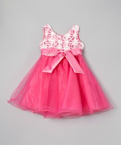 Hot Pink Bow A-Line Dress - Toddler & Girls | Daily deals for moms, babies and kids