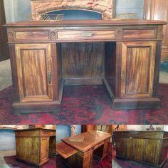 bureaux à caissons, trois tiroirs en façade,deux  portes , tirettes latérale , bois acajou de cuba, dessus cuir . XIX siècle .