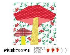 Mushrooms paper pieced quilt block craftsy