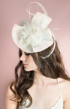 RACHEL Fascinator, Ivory Fascinator, Feather Fascinator, Flower Fascinator, Bridal Shower Fascinator, As Seen in Elegant Wedding Magazine