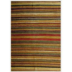 This hand-woven jute rug features a transitional striped design. With green and multicolored tones, this rug can help tie any room together.