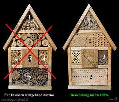Der klassische Grundtyp einer Nisthilfe (Insektenhotel) links wird in 1001 Variante verkauft. Der praktische Nutzen geht je nach Verarbeitung von Null bis gering. Links seht ihr einen sinnvollen Umbau. Die dort eingesetzten, sauber verarbeiteten Materialien werden nahezu zu 100% besetzt http://www.naturgartenfreude.de/wildbienen/nisthilfen/baumarktgrauen/