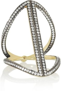 Noor Fares Rhombus 18-karat rhodium-plated gold, diamond and sapphire ring on shopstyle.com